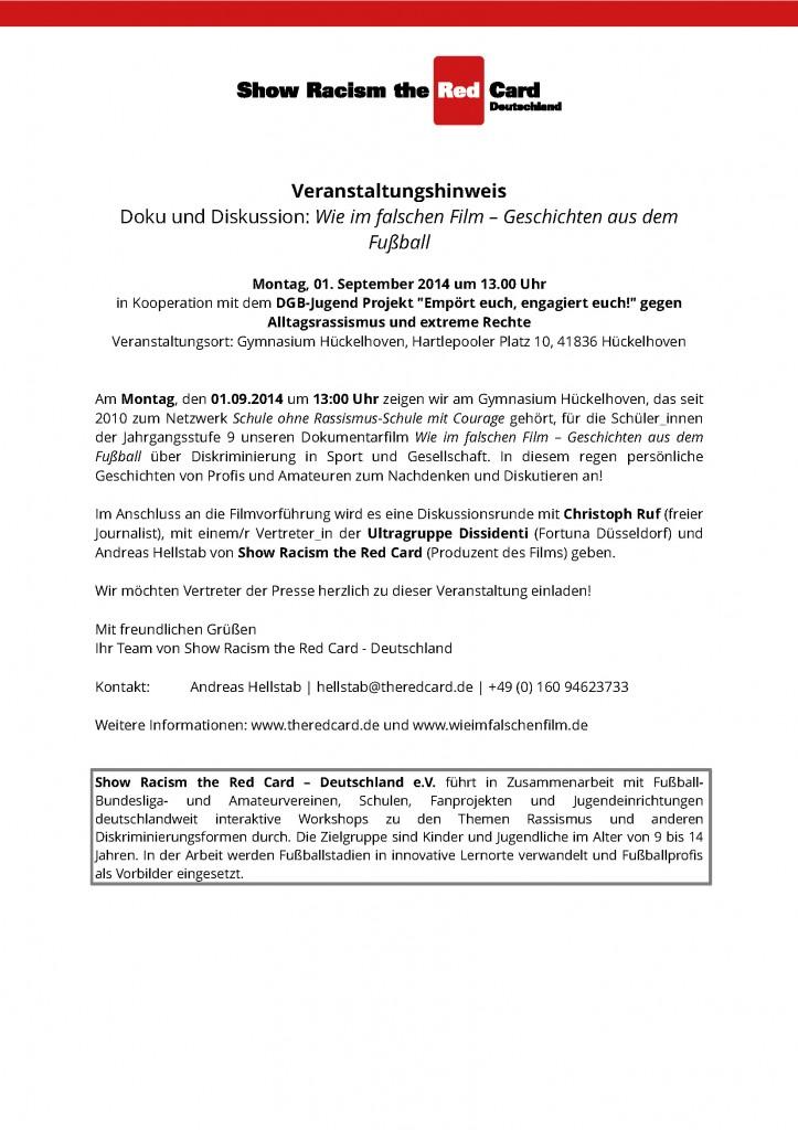 Presseeinladung_Wie im falschem Film_Hückelhoven